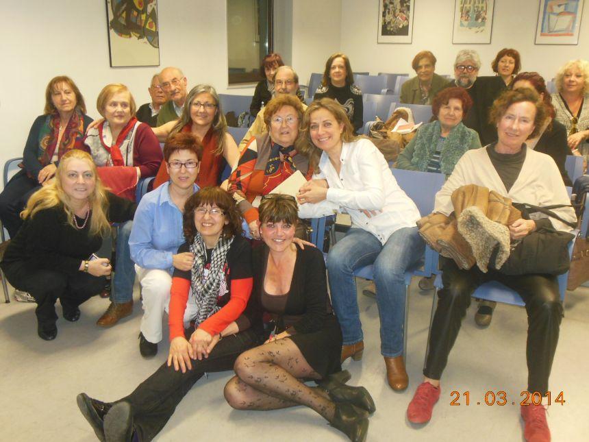 Con amigos/as de la tertulia del Laberinto de Ariadna, Ateneo Barcelonés, marzo 2014
