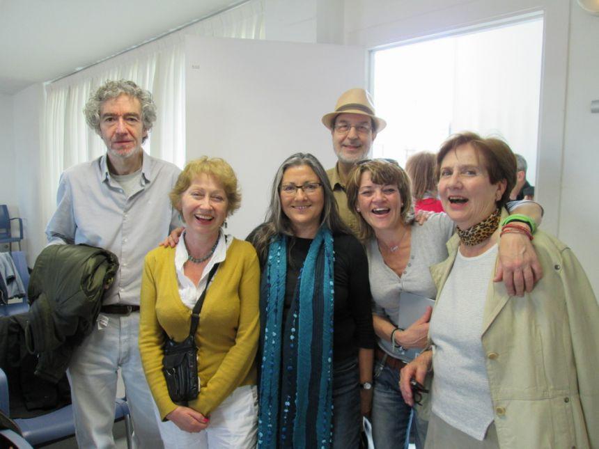 De izquierda a derecha: Alfonso Levy, Carmen Troncoso, Anna Rossell, Josep Anton Soldevila, Blanca Ruiz Narváez y Carmen Plaza. Tertulia del Laberinto de Ariadna, Ateneo Barcelonés, 2014